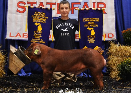 YOUTH-SUPREME-CHAMPION-BOAR-&-GRAND-CHAMPION-DUROC-BOAR---SEPT---MICHIGAN-STATE-FAIR---shown-by-Devin-Koffman---Dust-Storm