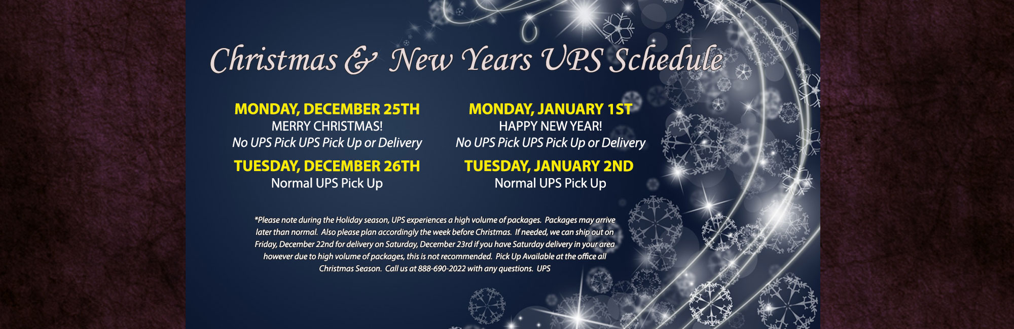 Christmas/New Years UPS Schedule