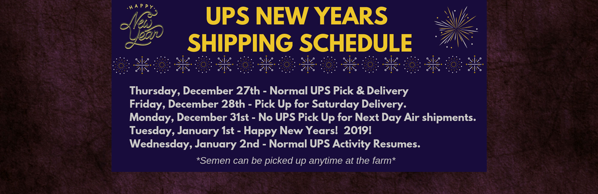 New Years Shipping Schedule