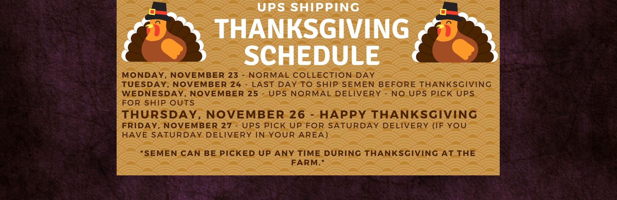 UPS Shipping Schedule